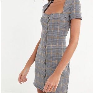 Urban Outfitters Plaid Zip Up Dress
